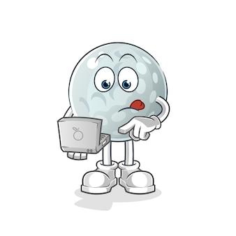 Bola de golfe com mascote do laptop. desenho animado