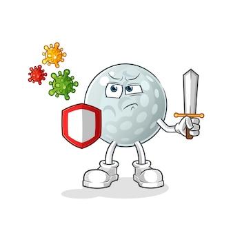 Bola de golfe contra desenhos de vírus. mascote dos desenhos animados