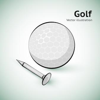 Bola de golfe desenhada de mão. ilustração