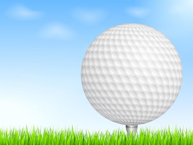 Bola de golfe na grama, ilustração em vetor eps10