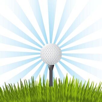 Bola de golfe sobre ilustração vetorial de fundo azul