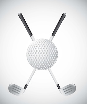Bola de golfe sobre ilustração vetorial de fundo branco