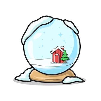 Bola de inverno única para presente de natal em uma ilustração de arte de linha fofa