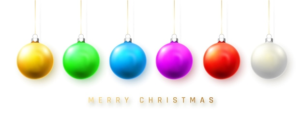 Bola de natal azul, branca, verde, amarela e vermelha.