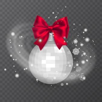 Bola de natal branca e realista decorada com um laço vermelho efeito de neve gelada em fundo transparente