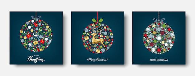 Bola de natal colorida. decoração dourada, vermelha, verde e branca. fundo de feliz ano novo. renas de natal de ouro, presentes, flocos de neve. molde do vetor para o cartão.