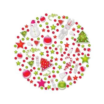Bola de natal com símbolos e elementos,