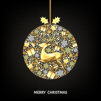Bola de natal de ouro. decoração dourada e branca. feliz ano novo fundo preto. renas de natal, presentes, flocos de neve. molde do vetor para o cartão.