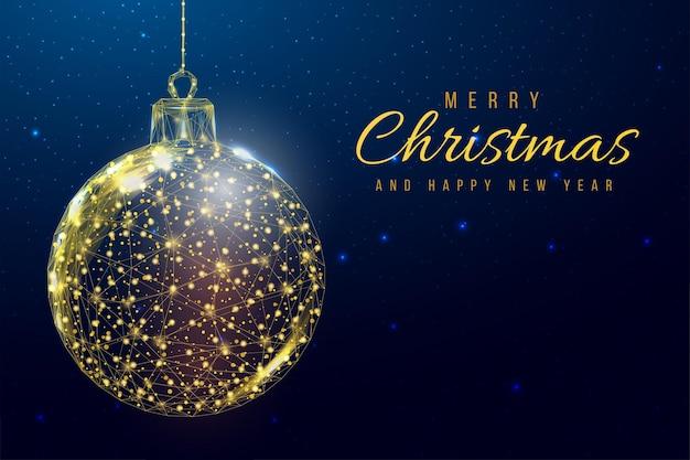 Bola de natal de ouro em estrutura de arame, estilo low poly. banner de feliz natal e ano novo. ilustração em vetor 3d moderna abstrata sobre fundo azul.