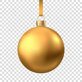 Bola de natal de ouro realista isolada no fundo branco. decoração da árvore de natal do vetor.