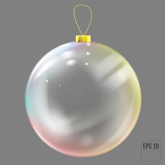 Bola de natal de vidro realista. brinquedo para árvore de natal transparente com reflexos coloridos