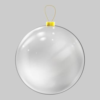 Bola de natal de vidro realista. decoração de bola de natal transparente.