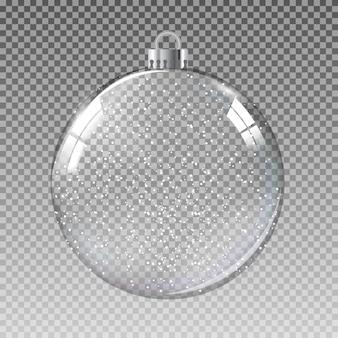Bola de natal de vidro transparente com neve