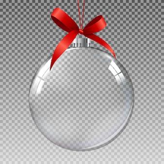 Bola de natal de vidro transparente com neve.