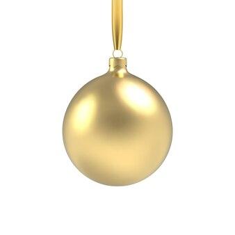 Bola de natal dourada, com enfeite e lantejoulas