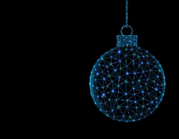 Bola de natal em elemento de decoração de estilo poligonal
