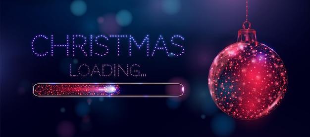Bola de natal em estrutura de arame e barra de carregamento, estilo low poly. banner de feliz natal e ano novo. ilustração em vetor 3d moderna abstrata sobre fundo azul.