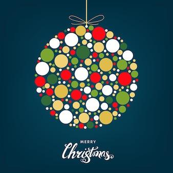 Bola de natal estilizada com padrão de férias brilhante feito de círculos coloridos. decoração da árvore de natal. ilustração em vetor plana geométrica para cartão de felicitações, convite.