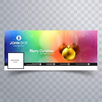 Bola de natal feliz com design de modelo de banner do facebook