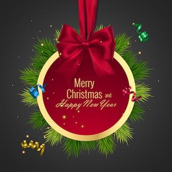 Bola de natal, moldura redonda de férias. banner com fita vermelha e arco de feliz ano novo