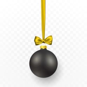 Bola de natal preta com laço amarelo. bola de vidro de natal em fundo transparente. molde da decoração do feriado.