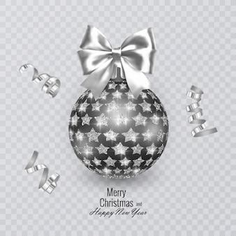 Bola de natal preta decorada com um laço branco realista e um enfeite de estrelas brilhantes e cintilantes