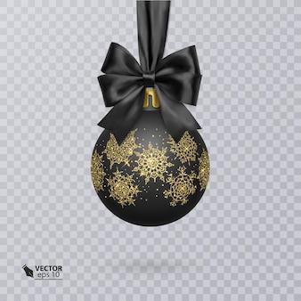 Bola de natal preta decorada com um laço preto realista e um enfeite de ouro brilhante