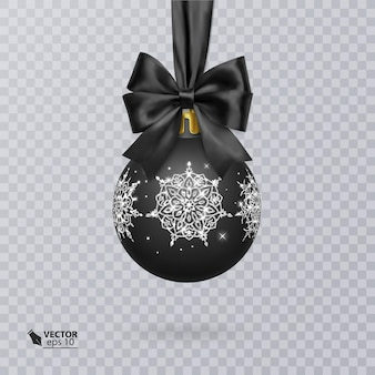 Bola de natal preta decorada com um laço preto realista e um enfeite de prata brilhante
