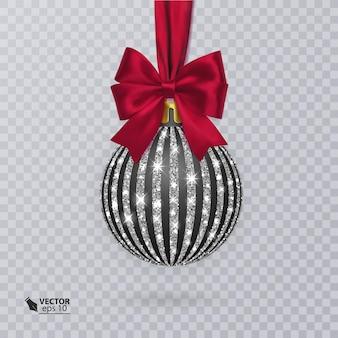 Bola de natal preta decorada com um laço vermelho realista e um enfeite de prata brilhante
