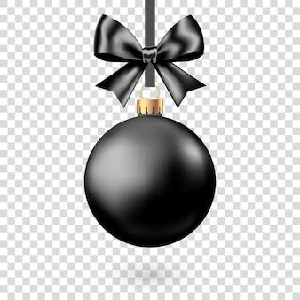 Bola de natal preta realista com arco e fita isolada no fundo branco. decoração da árvore de natal do vetor para banner de venda da black friday.