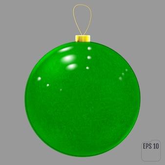Bola de natal realista de vidro verde. decoração de bola de natal com textura verde.