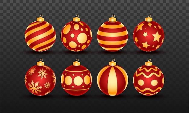 Bola de natal realista ou coleção de bugigangas em fundo preto png
