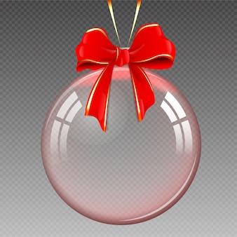Bola de natal realista transparente, isolada