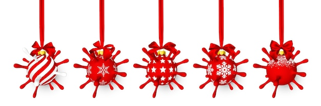 Bola de natal vermelha brilhante e brilhante como uma unidade de vírus com laço vermelho