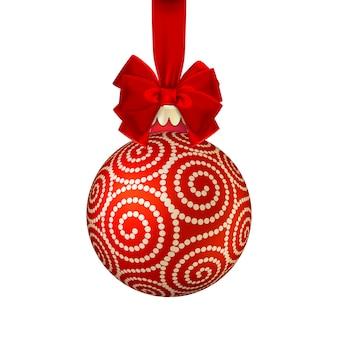 Bola de natal vermelha com laço.