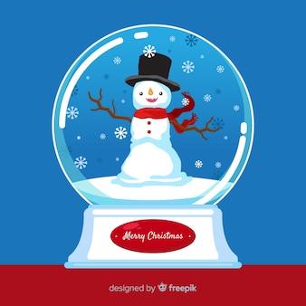 Bola de neve de natal com boneco de neve