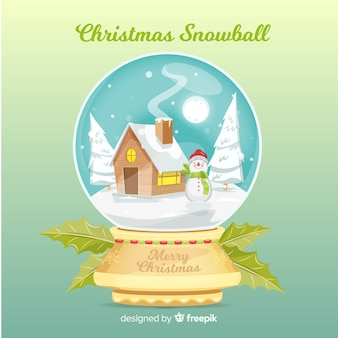 Bola de neve de natal com casa