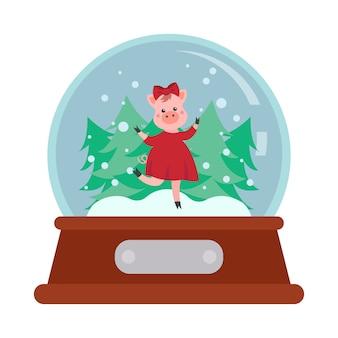 Bola de neve de natal com porco de personagem de desenho animado
