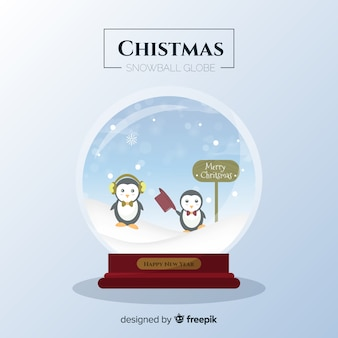 Bola de neve de natal de pinguins planas