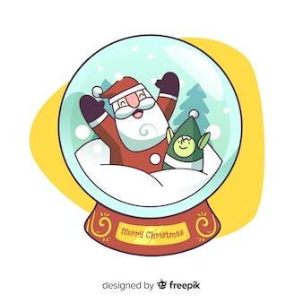 Bola de neve de natal papai noel de desenhos animados