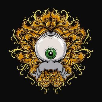 Bola de olho com gravura ornamento premium