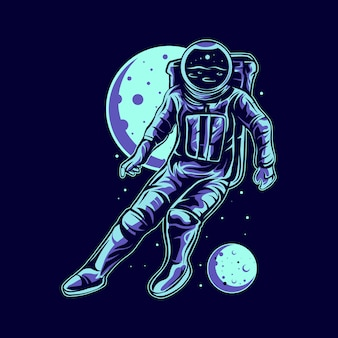 Bola de pé de astronauta no espaço com lua no projeto de ilustração de fundo