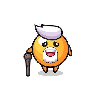 Bola de pingue-pongue fofa, o vovô está segurando uma vara, design de estilo fofo para camiseta, adesivo, elemento de logotipo