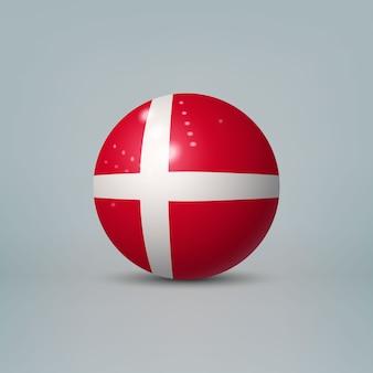 Bola de plástico brilhante realista com bandeira da dinamarca