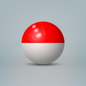 Bola de plástico brilhante realista com bandeira da indonésia