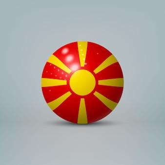 Bola de plástico brilhante realista com bandeira da macedônia do norte
