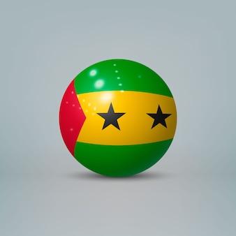 Bola de plástico brilhante realista com bandeira de ruanda