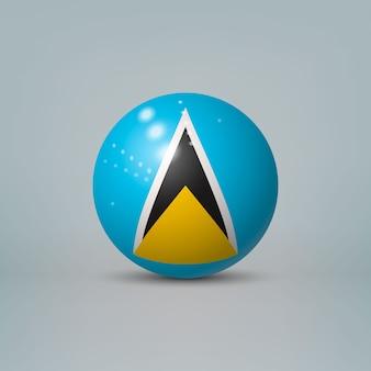 Bola de plástico brilhante realista com bandeira de santa lúcia