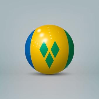 Bola de plástico brilhante realista com bandeira de são vicente