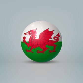 Bola de plástico brilhante realista com bandeira do país de gales